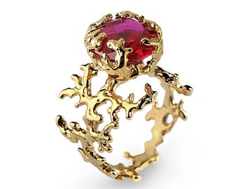 CORAL Ruby Engagement Ring, Statement Ring, Gold Ruby Ring, Gold Engagement Ring, Large Ruby Ring Gold, Memorial Day