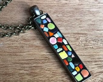 Mosaic Tiny Tiles Pendant Mecklace