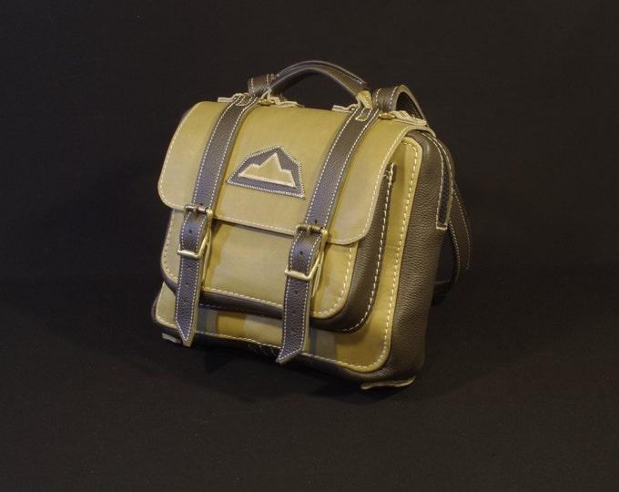 document Briefcase, backpack, Briefcase, bag has green, Khaki, dark green leather shoulder bag