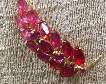Pink Rhinestone Crescent Brooch, Estate Jewelry, Mid Century Brooch