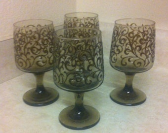 LIbbey Prado Wine Glasses Smokey Amber Taupe Stemware Footed Glasses set of 4