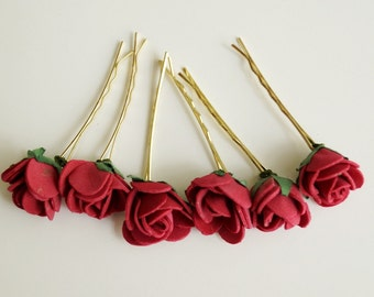 Bridal Hair Accessories, dark pink Rose, pink flower Hair Bobby Pins- set 6