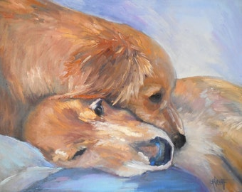 """Dog Painting, Golden Retriever Painting, 14x18 dog art, """"Puppy Love"""" by Carol Schiff, Free Shipping in US"""