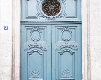 Paris Photography - Blue Door with Window, Architecture Photography, France Travel Fine Art Photograph, French Home Decor, Large Wall Art