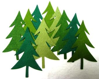 Diecut, EVERGREEN TREES,  DIY,  wool blend felt,   Appliques, Trees,  precision die cut, Ten count