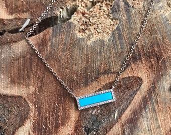 14K Rose Gold Turquoise Diamond Bar Necklace