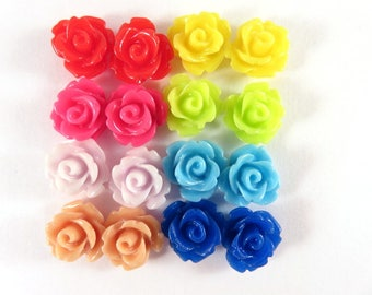 16 Rose Blume Cabochon Perle Blume Perle 10mm Sortiment - keine Löcher - 16 pc - CA2006-AS20-AG