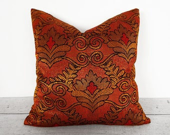 Vintage Bohemian Pillows, Copper Pillows, Throw Pillows, Toss Pillows, Orange Gold Pillows, Boho Pillow Covers, Eclectic, 14x20, 18x18