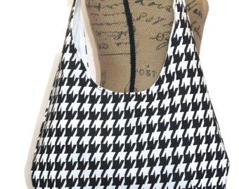 Hobo Bag /  Sling Hobo Bag / Sling Bag /Shoulder Bag / Handbag / Hobo Purse / Black and White Houndstooth
