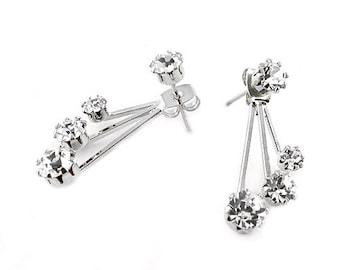 Sale| Ear Jacket Earrings - Double Earrings - Front Back Earrings - Post - Rhinestones - Ear Jacket - Stud - Trending - Drop - Crystal Earri