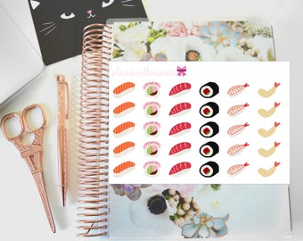 Sushi Lover (Salmon, Tuna, California Roll) Hand Drawn Planner Stickers