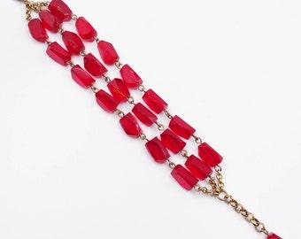Vintage Red Glass Bead Multi Strand Bracelet, Triple Strand Faceted Red Glass Beads 1950's Bracelets Vintage Jewelry