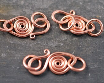 handmade pure copper swan hook clasp - heavyweight - 3 sets