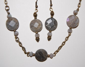 Vintaj Grey Necklace and earrings (with natural stones)