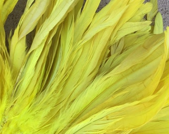 Rooster coque feathers 7-10 inch length color bright yellow- dyed over natural bleached, rooster feathers, Tahitian costume