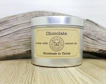 Chocolat - mèche en bois bougie de voyage