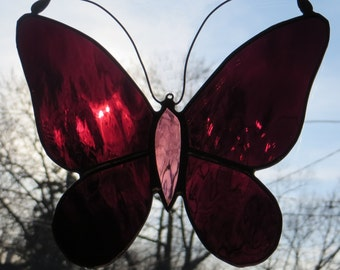Stained Glass Butterfly Suncatcher Burgundy Purple - Made to Order (SUN004)