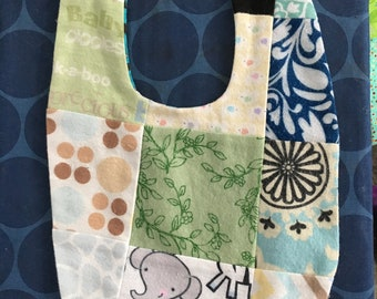 Quilted flannel reversible baby bib