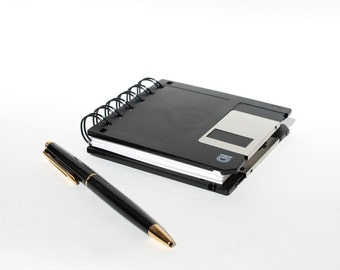 Floppy Disk Notebook - Geek Book - Recycled Computer Diskette -  Black