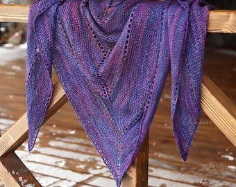 Knitted shawl, handmade triangular shawl wrap, oversized lace shawl, extra fine merino wool shawl, purple shawl, wool scarf, gift for women