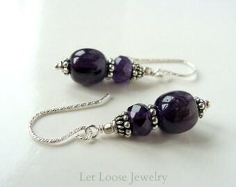 Amethyst sterling silver earrings, genuine purple gemstones, everyday handmade jewelry, Let Loose Jewelry, under 40, February birthstone