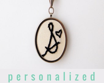 2nd Anniversary Modern Embroidery. Embroidered Jewelry. Stitched Initial Pendant. Made to Order Initial Jewelry Custom Necklace Letter Charm