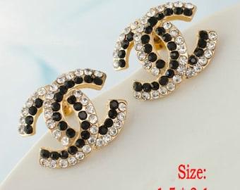 Chic Black Crystal Silver Stud Earrings
