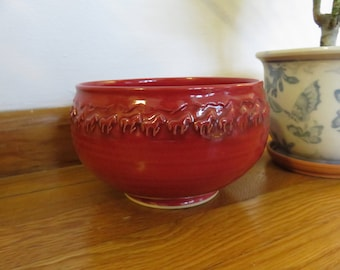 Cute and Unique Bright Red Bowl, Horses and Mountains Pattern Around Rim- Signed by Artist, Brown- Thrown on Wheel