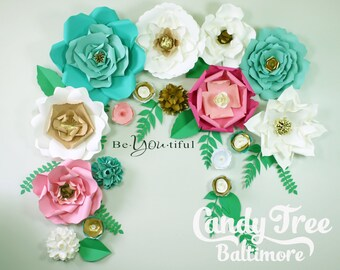 """Mint giant paper rose/Wedding paper flower/Baby-shower paper flower/Wall decor flower/paper flower/Birthday party paper flower set""""MINT"""""""