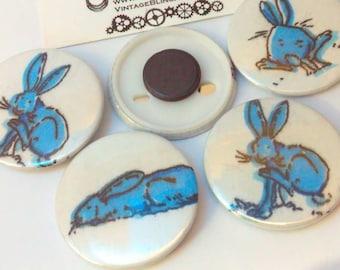 Blue rabbit, 4.5cm magnet, Easter Bunny, bunny magnet, rabbit magnet, bunny rabbit, fridge magnet, magnet, magnets, rabbit gift, bunny gift