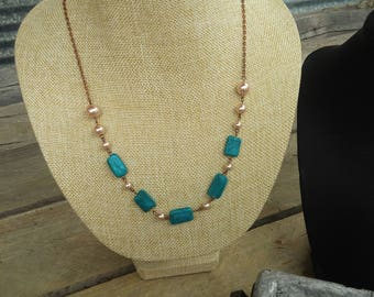 plymer clay necklace, beaded necklace, turquoise necklace