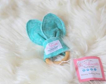 Sensory Teething Ring/ Teal/ Feathers/ Bunny Eared Teether/ Sensory Toys/ Teething Ring/ Baby Shower Gifts/ Boho Baby/ Wooden Teething Ring