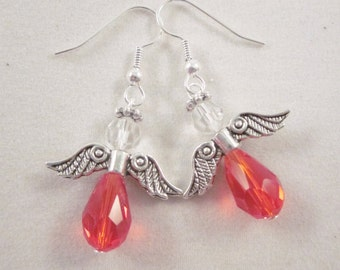 "Earrings ""Birthstone Angel - July""  - Light Siam - Artisan Lampwork Glass Earrings, SRAJD, OOAK"