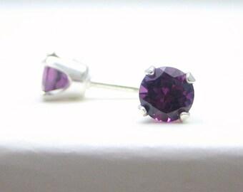 Rhodolite Garnet Sterling Silver Stud Earrings - 3 mm 4 mm 5 mm - Post Earrings - Garnet Birthstone - Garnet Earrings - Rhodolite Earrings