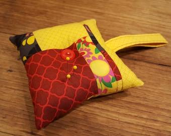 Tufted pincushion, handle pincushion, pin cushion, yellow pin cushion, red pin cushion, pin holder, pin cozy, seamstress gift