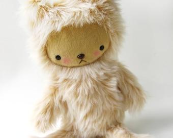 Kawaii Teddy Bear Plushie Blonde Plush Faux Fur Large BUTTERS--Last One
