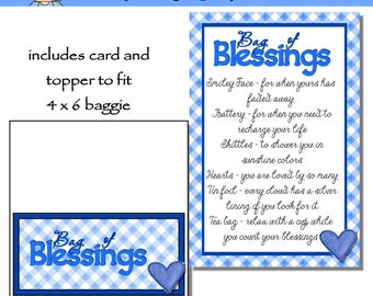 Bag of Blessings in Blue includes Topper and Card - Digital Printable - Immediate Download