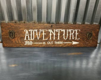Adventure is Out There Wall Sign Vintage Wood Wall Decor Farmhouse Plaque French Country Decor