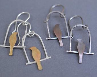 Bird on Swing Earrings- simple bird earrings, bird cage earrings- bird lover gift, love bird earrings, gift for wife, valentines day gift,