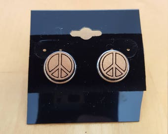 Laser etched Peace Sign earrings