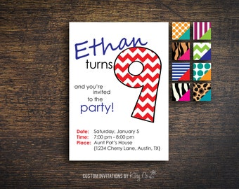 9th Birthday Invitation | Kids Birthday | Printable Digital File