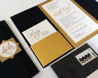 Gold and Glitter Bat Mitzvah Invitation