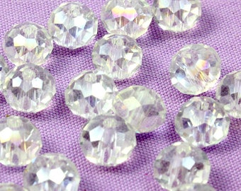 8mm Clear Crystal Rondelle Beads (20) AB Crystal Beads. Clear Glass Beads with Rainbow Finish. Clear Beads. Flattened Beads. Clear Rondelle