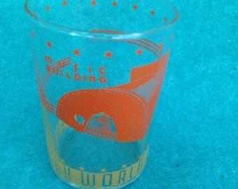 "1939 1940 New York World's Fair Short Wide Water Glass 3 3/4"" Music Building"