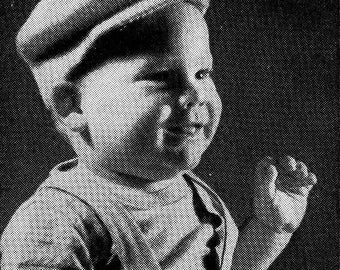 PATTERN 1950s Vintage Newsboy Paperboy Cap Hat PDF Pattern to Knit with button on top