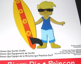 Surfer Outfit 655725 Paper Doll Clothes Sizzix Bigz Dress Ups Die with Surfboard Shorts Sunglasses and Shirt