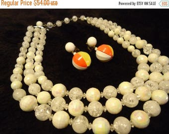 ON SALE Vintage Signed Coro 3 Strand White Necklace & Beaded Germany Earrings 1950s Old Hollywood Glam Collectible Mad Men Mod  Jewelry