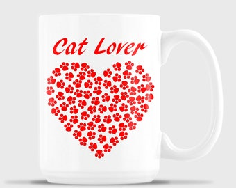 Cat Lover's Heart mug