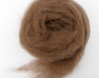 Alpaca Roving for Spinning and Felting, Fawn Fiber, Brown Fibre, 2 ounces