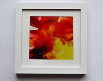 Abstract art print , Original , yellow, red, wall decor , home decor , framed print , housewarming , anniversary , wedding